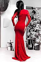 Красное платье в пол рыбка