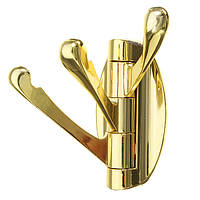 Золотой тройной шарнир Крюк Свинг Складной кронштейн настенный цинковый сплав Одежда Полотенце Вешалка