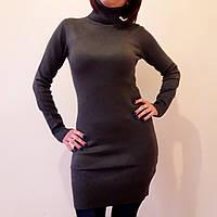 Однотонная женская туника, теплая (цвет хаки) / Женская теплая туника