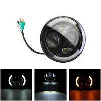 7-дюймовый круглый светодиодный проектор фары мотоциклов фары High / Low Beam W / DRL + Turnlight H4 Plug