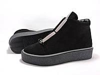 Ботинки на толстой подошве. Черные