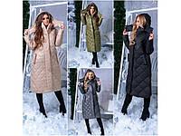 Пальто женское стеганное зимнее