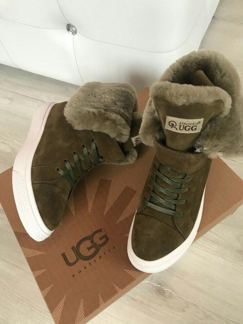 Сникерсы женские зимние замшевые брендовые UGG высокие темно-зеленые(хаки) размер  37-40 dc1a45bfb38