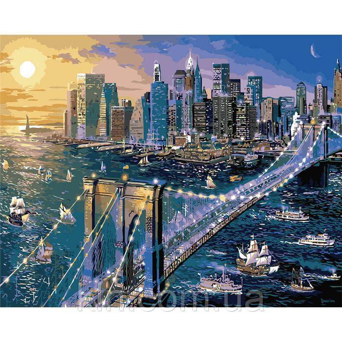 Картина по номерам без коробки Нью Йорк в огнях 40 х 50 см Идейка КН02170