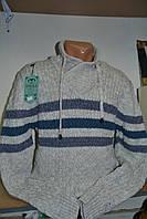 Мужской свитер белого цвета в полоску. Кофта под шею мысиком. Баталы №087