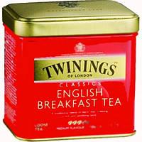 Чай черный листовой байховый  Twinings English Breakfast  100 грамм в жестяной банке