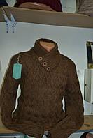 Мужской теплый вязаный свитер под шею. Баталы