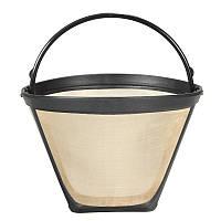 Перманентный многоразовый № 4 Конусная форма Кофейный фильтр Сетка корзины Золотые тональные принадлежности для кофе
