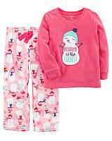 """Пижама флисовая для девочки 2в1 Carter's """"Снеговик"""" р.2Т,4Т,5Т"""