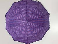 Зонт женский полуавтомат SL в горошек с рюшей (SL33057А-1) фиолетовый