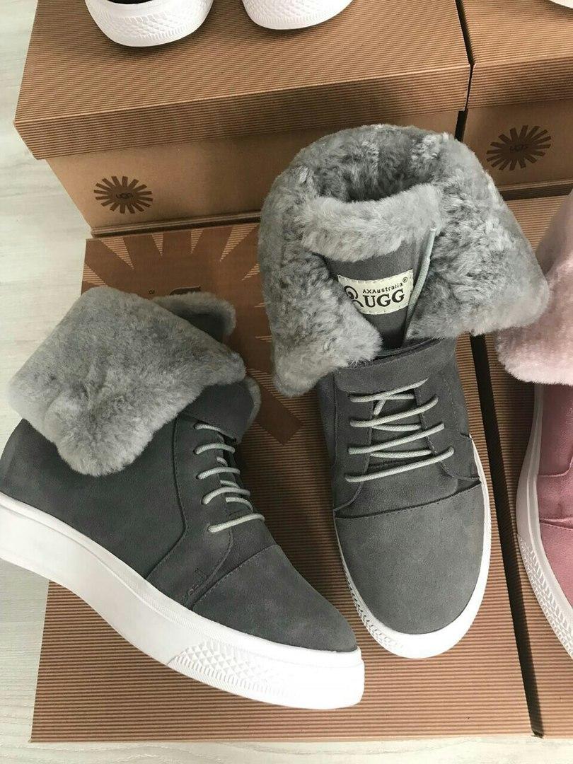 Сникерсы женские зимние замшевые брендовые UGG премиум-качество серые  высокие размер 37-40 - a66b0caa8c1