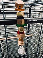 Игрушка для средних и крупных птиц из натурального дерева, фото 1