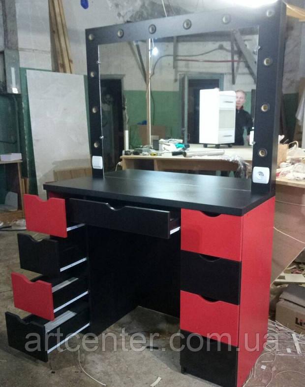 Стол с зеркалом красно-черный с выдвижными ящиками