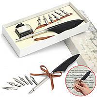Античный гусиное перо гусиное Dip Свадьба Подписание Pen & Ink с 6 Нибс Set Подарочная коробка