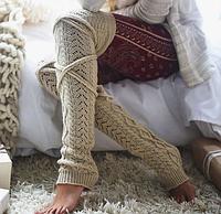 Длинные женские гетры выше колена на завязках бежевого цвета