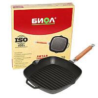Сковорода-гриль чугунная Биол литая глубокая со съемной ручкой