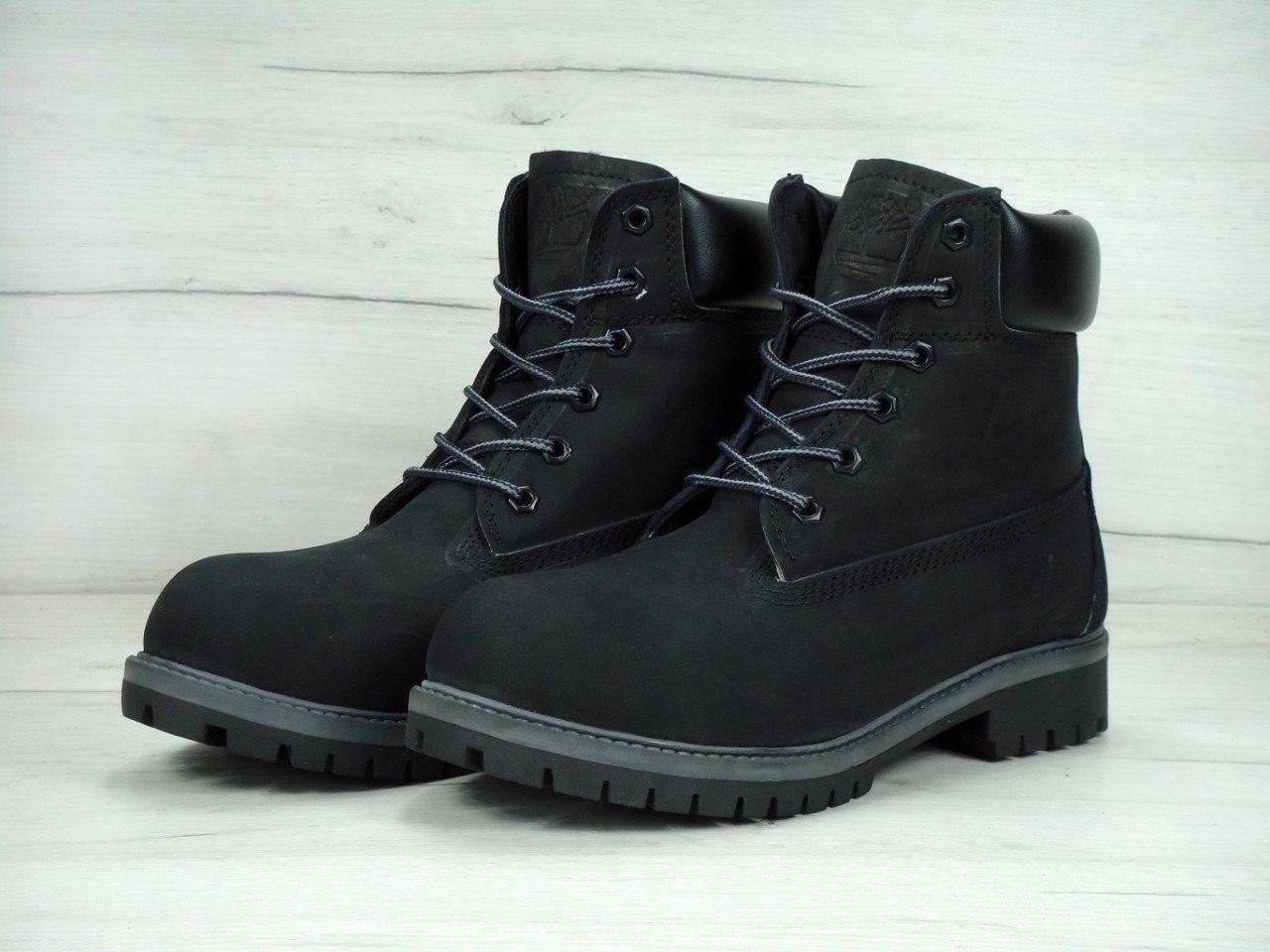 Ботинки Timberland мужские зимние (черные), ТОП-реплика