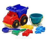 """Машина """"Тотошка"""" самоскид №3: машинка, ведёрко, лопата, грабелька (ЛГ3) і три пасочки (П3) COLORPLAS"""