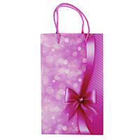 """Пакет подарочный """"Бант"""" ламин. розовый 160*260*70 мм 1390"""