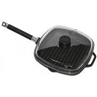 Сковорода-гриль чугунная  с крышкой Биол литая глубокая со съемной ручкой