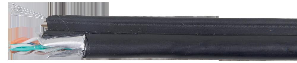 ITK Кабель связи витая пара F/UTP кат.5E 4х2х24AWG, LDPE трос 1,2мм, 305м, черный (для внешней прокладки)