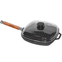 Сковорода-гриль чугунная  с крышкой Биол литая глубокая со съемной ручкой 260