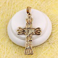 R4-0757 - Різьблений позолочений кулон-хрест з візерунком