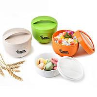 KCASA KC-BCH18 800mL Круглый пшеничный ланч Коробка Портативный экологически чистый контейнер для здоровой еды Tote