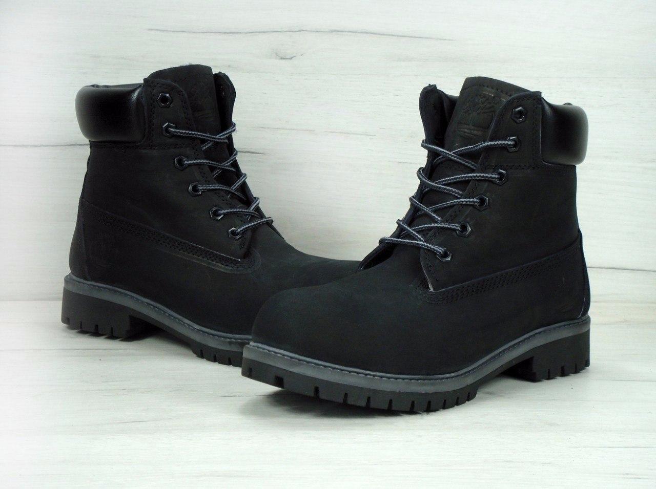 Ботинки Timberland женские зимние (черные), ТОП-реплика