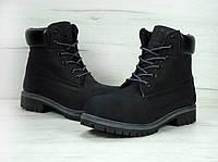 Ботинки Timberland женские зимние (черные), ТОП-реплика, фото 1