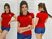 Женская красная футболка поло Порше