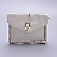 Белая сумочка металлическими пайетками по контуру, фото 1