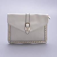 Белая сумочка металлическими пайетками по контуру