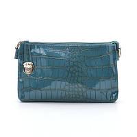Лакова міні-сумочка на блискавці з ремінцем темно-синя, фото 1