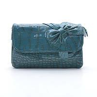 Синяя мини-сумочка лаковая с бантом