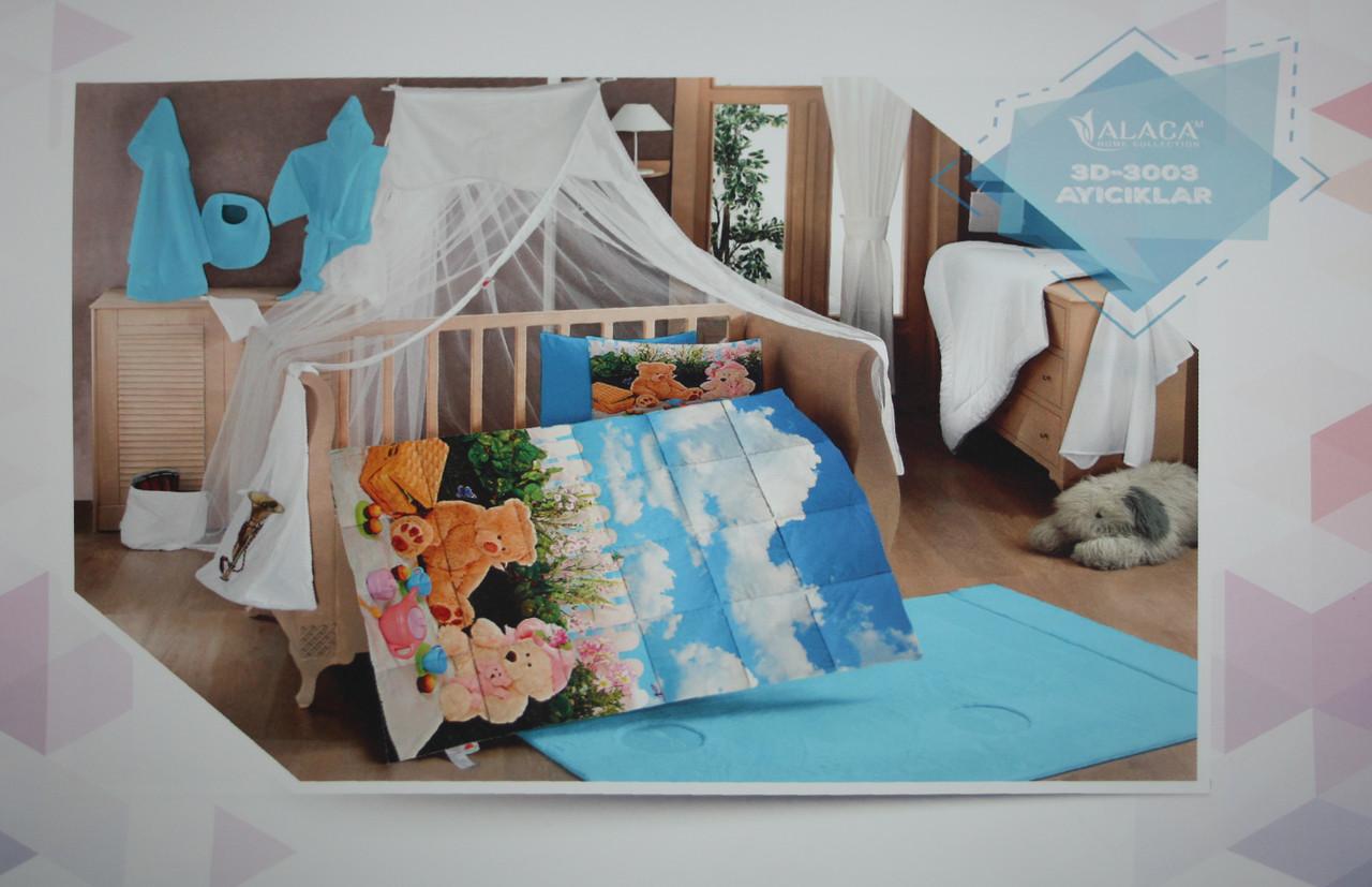 Набор детского постельного белья с одеялом Alaca 3D Ayiciklar