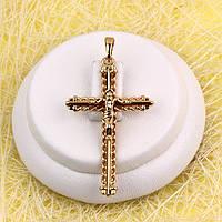 R4-0763 - Позолочений кулон-хрест з розп'яттям і візерунком