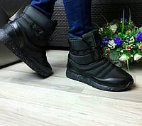 Дутики-ботинки женские зимние на меху черные на шнуровке KF0428