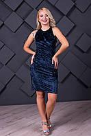 Платье женское коктейльное синее мини из шелкового велюра с эффектом  муара   с открытыми плечами и спинкой