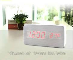 Электронные цифровые настольные часы с температурой VST-862-1 (красные цифры)