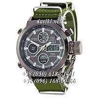 Часы AMST Black-Black Green Wristband