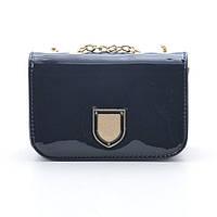Темно-синяя лаковая сумочка через плечо (внутри бордовая подкладка)