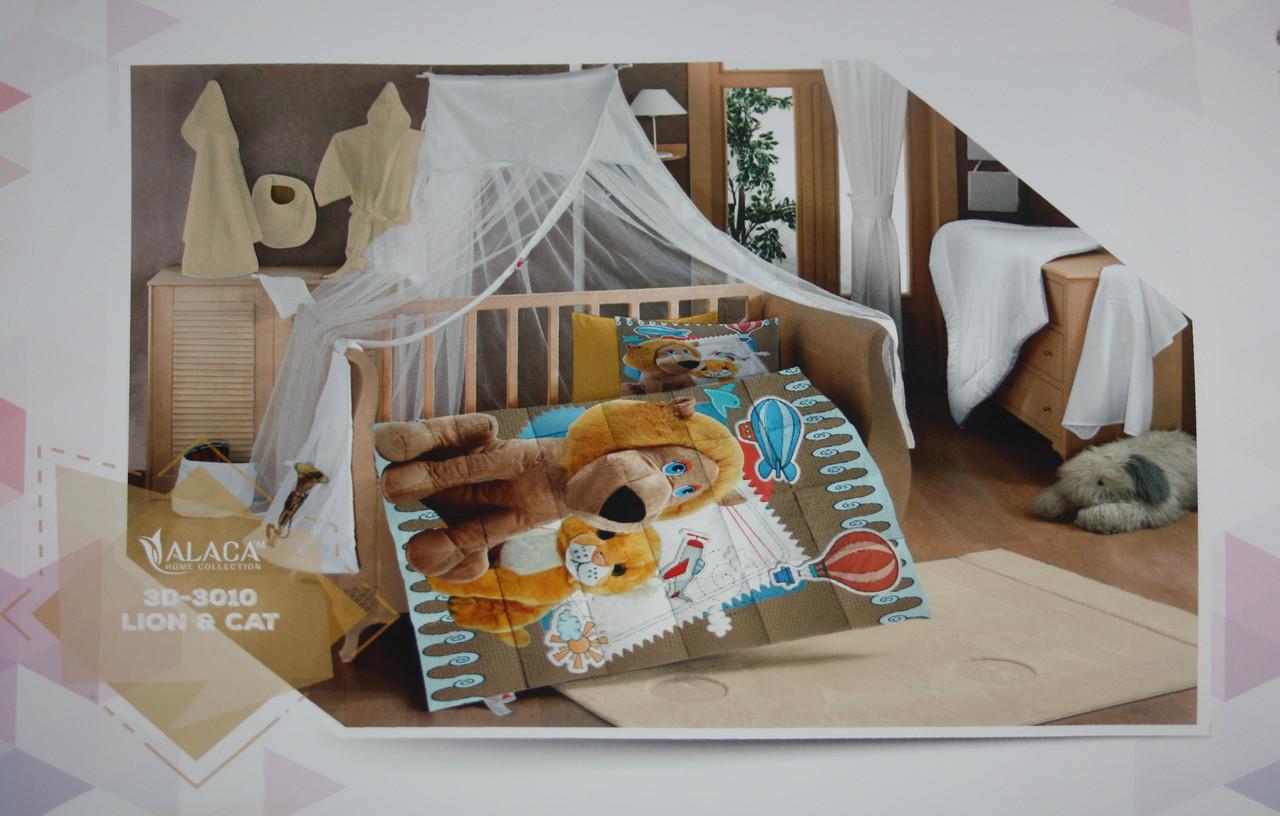 Набор детского постельного белья с одеялом Alaca 3D Lion & Cat