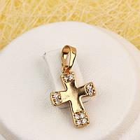 R4-0767 - Позолочений кулон хрест з прозорими фіанітами