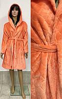 Короткий махровый халат под пояс с капюшоном 44-52 р, женские махровые халаты оптом от производителя