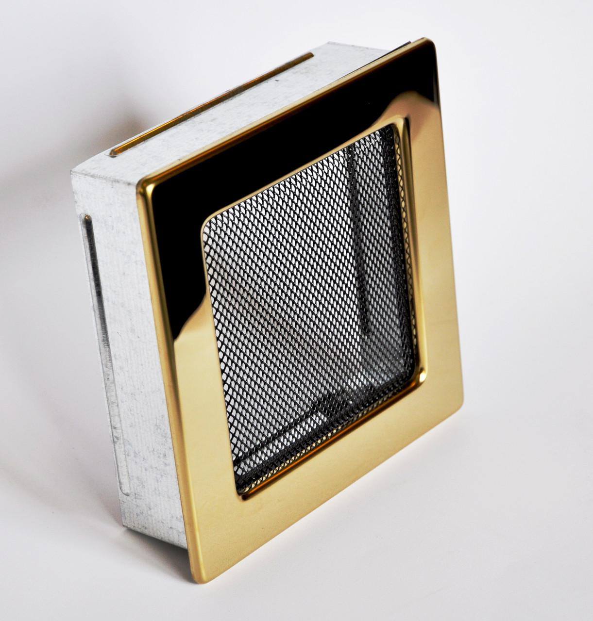 Решетка каминная 17х17 золото, вентиляционная для камина, декоративная