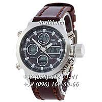 Часы AMST Silver-Black Brown Wristband реплика
