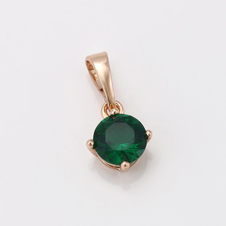 Кулон Зелений цирконій, позолота 7 мм