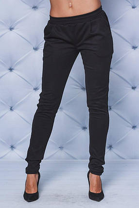 Трикотажные брюки с лампасами черные, фото 2