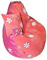 Детское Кресло бескаркасное мешок-пуф груша с вышивкой имени